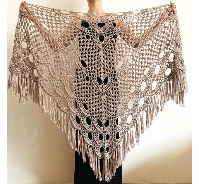 Beige shawl for wedding Bridesmaid shawl wedding capelet Wool triangle shawl fringe Lace shawl bridal stole bride winter shawl wrap  Wedding