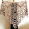 Beige shawl for wedding Bridesmaid shawl wedding capelet Wool triangle shawl fringe Lace shawl bridal stole bride winter shawl wrap