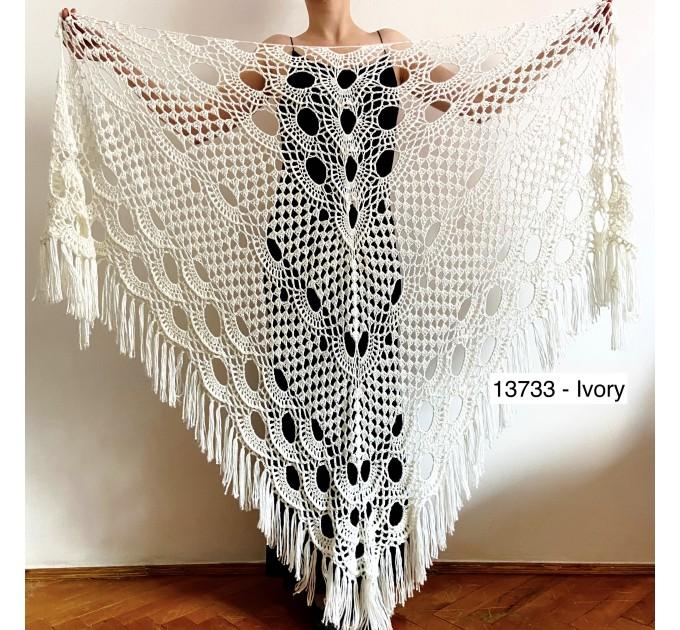 Beige shawl for wedding Bridesmaid shawl wedding capelet Wool triangle shawl fringe Lace shawl bridal stole bride winter shawl wrap  Wedding  2