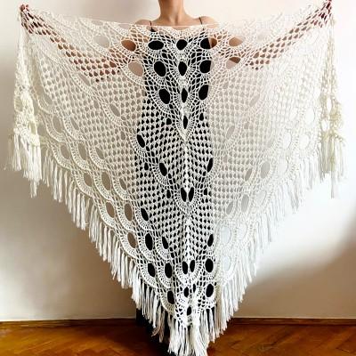 Ivory Bridal cover up, White winter Wedding Shawl, Bridesmaid shawl Burgundy bride shawl, Evening Fuzzy shawl wrap Triangle Shawl Fringe