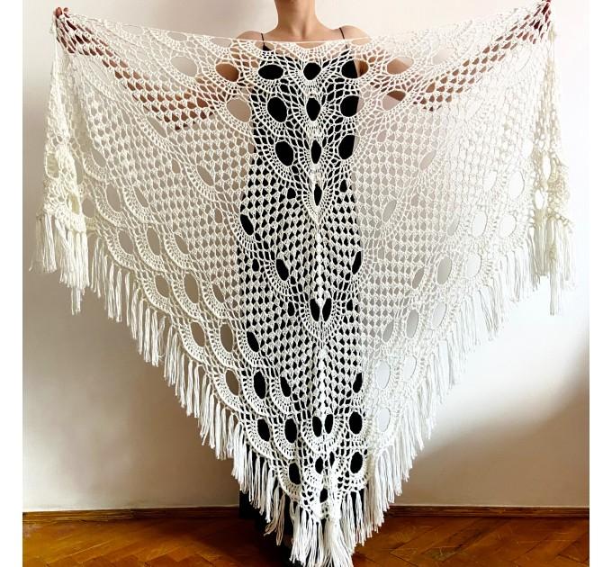 Ivory Bridal cover up, White winter Wedding Shawl, Bridesmaid shawl Burgundy bride shawl, Evening Fuzzy shawl wrap Triangle Shawl Fringe  Shawl / Wraps