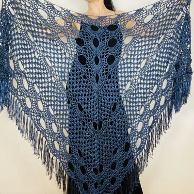 Blue bride shawl winter plus size wool triangle shawl bridesmaid shawl bridal cover up bridal shawl wedding shawl