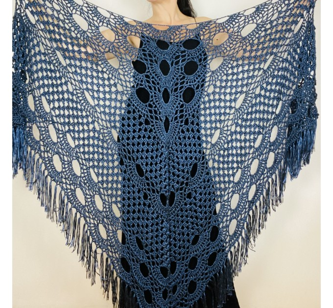 Black lace shawl fall winter wool triangle shawl fringe bridal party shawl wedding knit warm shoulder Wrap bridesmaid shawl bridal cover up  Shawl / Wraps  8
