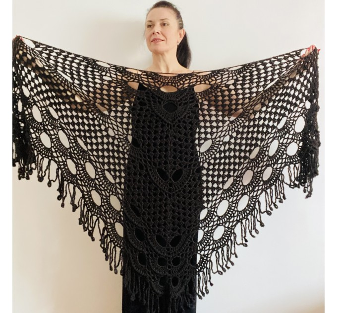 Black lace shawl fall winter wool triangle shawl fringe bridal party shawl wedding knit warm shoulder Wrap bridesmaid shawl bridal cover up  Shawl / Wraps