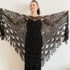 Black lace shawl fall winter wool triangle shawl fringe bridal party shawl wedding knit warm shoulder Wrap bridesmaid shawl bridal cover up