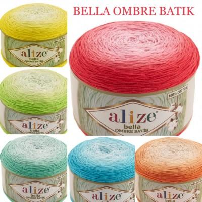 Alize BELLA OMBRE BATIK Yarn 250 gr 100 Organic Cotton Yarn knitting yarn, Crochet vegan yarn Soft Gradient yarn Summer Baby amigurumi yarn