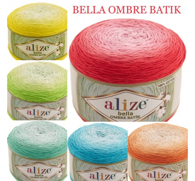 Alize BELLA OMBRE BATIK Yarn 250 gr 100 Organic Cotton Yarn knitting yarn, Crochet vegan yarn Soft Gradient yarn Summer Baby amigurumi yarn  Yarn