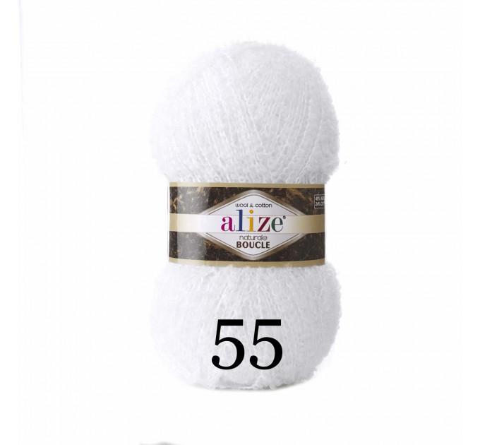 NATURALE BOUCLE Alize Yarn wool knitting yarn, cotton crochet yarn, soft baby blanket, clotting scarf hat yarn  Yarn