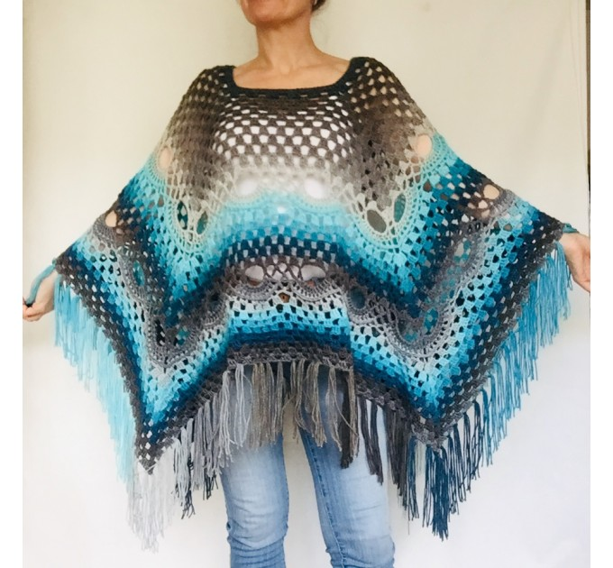 Blue Crochet Poncho Women, Unisex Poncho Men Triangle Shawl Wraps Fringe, Plus size Festival Poncho Vegan Granny square coat Pride  Acrylic / Vegan  2