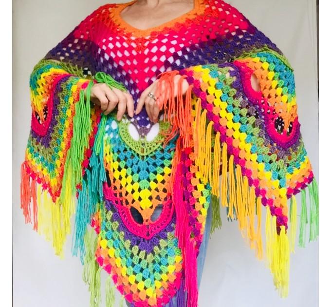 Blue Crochet Poncho Women, Unisex Poncho Men Triangle Shawl Wraps Fringe, Plus size Festival Poncho Vegan Granny square coat Pride  Acrylic / Vegan  8