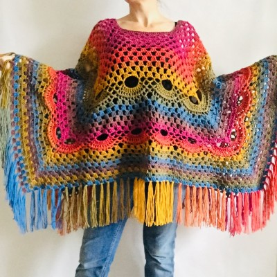 Crochet Poncho Shawl Rainbow Plus Size Wraps Birthday Gift Women Bohemian Festi Vegan Clothing Fringe Custom Colours Granny Square 3XL 2XL