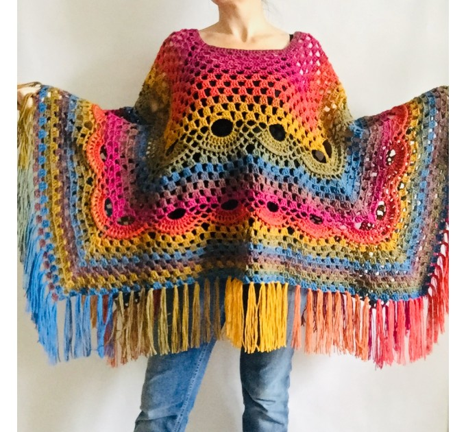 Blue Crochet Poncho Women, Unisex Poncho Men Triangle Shawl Wraps Fringe, Plus size Festival Poncho Vegan Granny square coat Pride  Acrylic / Vegan  4