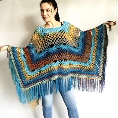 Blue Crochet Poncho Women, Unisex Poncho Men Triangle Shawl Wraps Fringe, Plus size Festival Poncho Vegan Granny square coat Pride