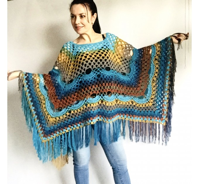 Blue Crochet Poncho Women, Unisex Poncho Men Triangle Shawl Wraps Fringe, Plus size Festival Poncho Vegan Granny square coat Pride  Acrylic / Vegan