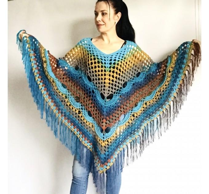 Blue Crochet Poncho Women, Unisex Poncho Men Triangle Shawl Wraps Fringe, Plus size Festival Poncho Vegan Granny square coat Pride  Acrylic / Vegan  1