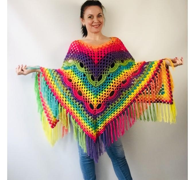 Blue Crochet Poncho Women, Unisex Poncho Men Triangle Shawl Wraps Fringe, Plus size Festival Poncho Vegan Granny square coat Pride  Acrylic / Vegan  7