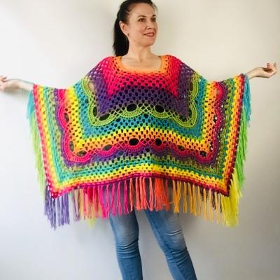 Crochet Poncho Women Plus Size Rainbow Festival Pride Vegan Clothing Fringe, Hippie Poncho bohemian clothing, Hand Knit Boho Wraps