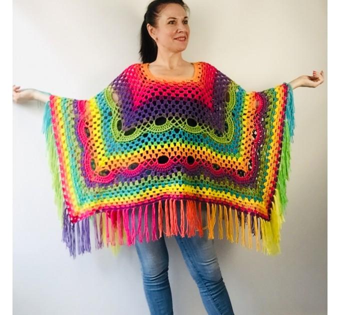 Blue Crochet Poncho Women, Unisex Poncho Men Triangle Shawl Wraps Fringe, Plus size Festival Poncho Vegan Granny square coat Pride  Acrylic / Vegan  6