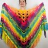 Rainbow Neon Shawl Fringe Plus Size Shawl Rainbow Granny Square Shawl Pride Women Crochet Triangle Wrap Man Festival Vegan Unisex