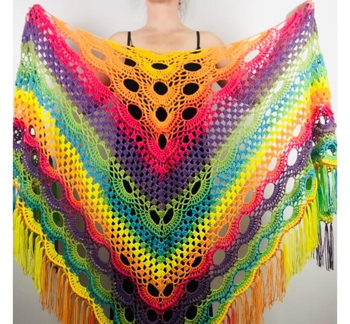 Rainbow Neon Shawl Fringe Plus Size Shawl Rainbow Granny Square Shawl Pride Women Crochet Triangle Wrap Man Festival Vegan Unisex   Acrylic / Vegan  2