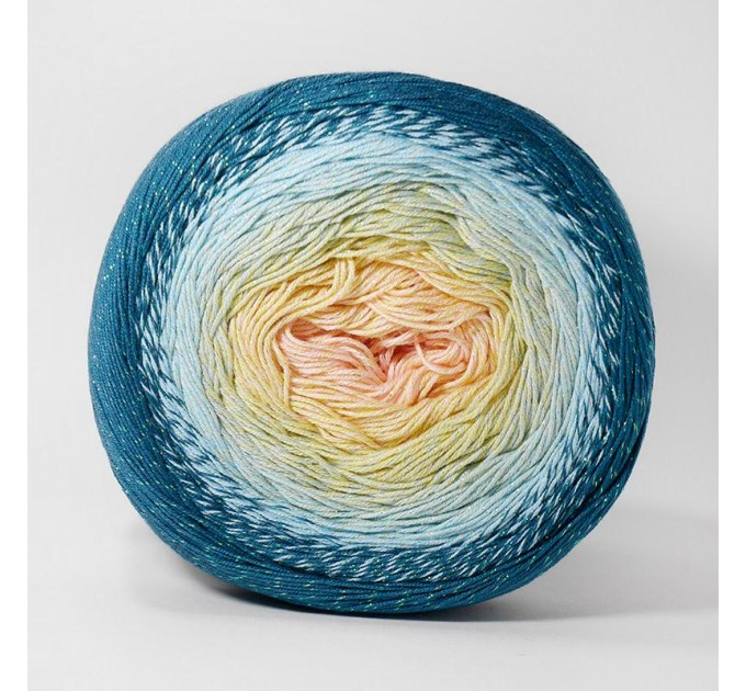 FLOWERS MOONLIGHT YarnArt Gradient 250 g 1000 meters Glitter Metallic Lurex Multicolor cotton yarn Rainbow crochet yarn hand knit Shiny yarn    7