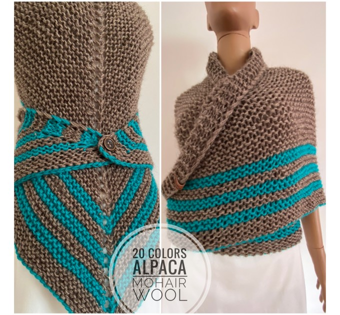 Gray Outlander Claire rent shawl triangle wool shawl sontag celtic shawl knit shoulder wrap Carolina Shawl Fraser's Ridge winter shawl  Shawl Wool Mohair  1