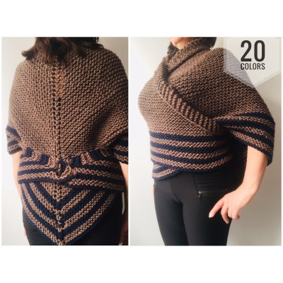 Brown Outlander Inspired Claire Shawl Alpaca, Shoulder warmer wrap, Wool Triangle sontag shawl with button for fastening, Claire Carolina S4 Drums of Autumn