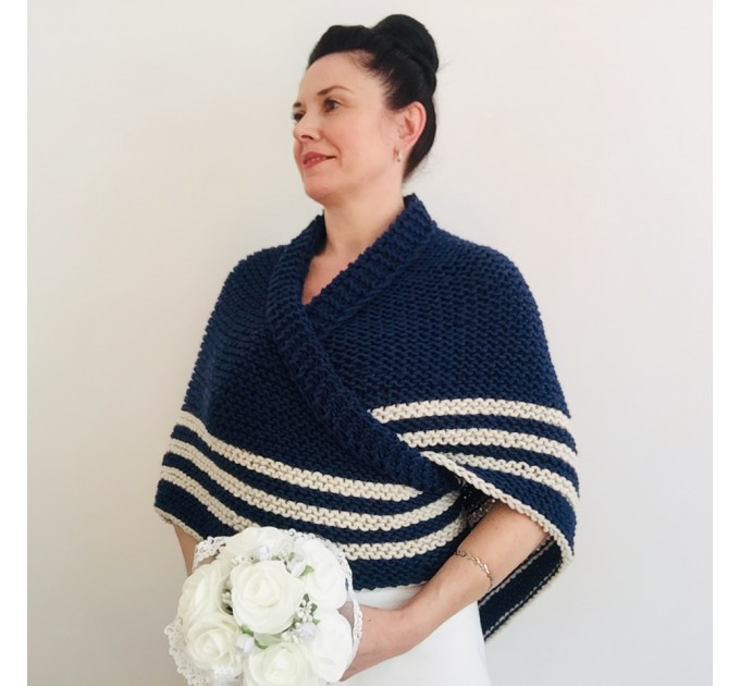 Blue Triangle  sontag shawl with button for fastening, Inspired Claire Carolina S4 Drums of Autumn Outlander Knit  Shawl Wool Mohair