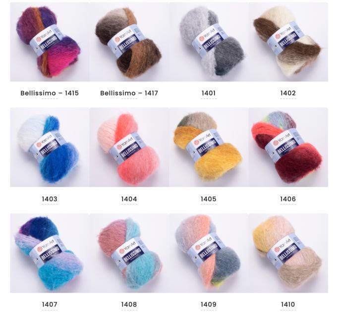 Yarn BELLISSIMO YarnArt mohair yarn ombre yarn gradient shawl yarn knitting yarn poncho yarn crochet yarn rainbow yarn wool yarn  Yarn  1