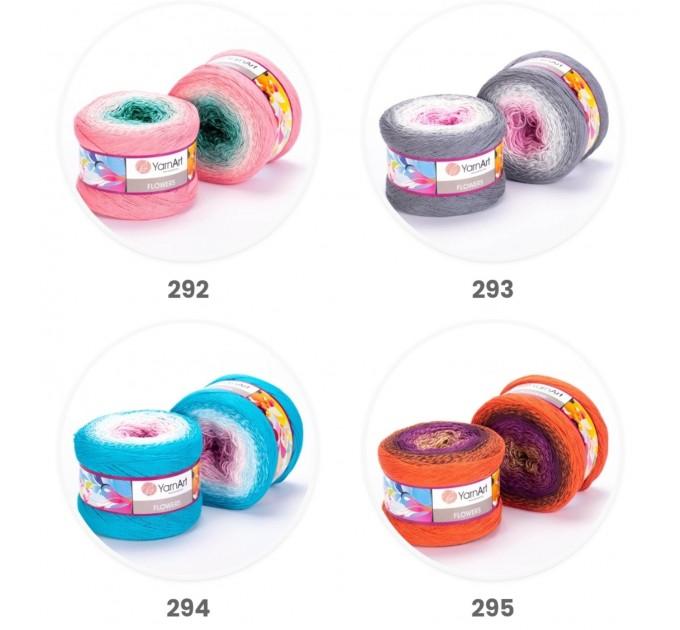 YARNART FLOWERS 250 grams-1000 meter Gradient Cotton Rainbow Knitting Yarn Crochet Cotton Granny Square Shawl Wraps Poncho Organic Soft Yarn  Yarn  11
