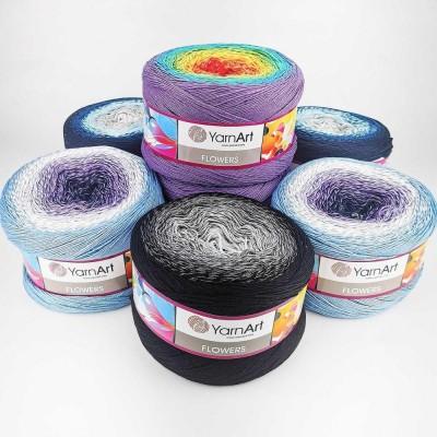 YarnArt FLOWERS 250 grams-1000 meters Cotton Yarn Rainbow Crochet Hand Knitting Soft Yarn Spring Summer Yarn Granny Square Bag color choice