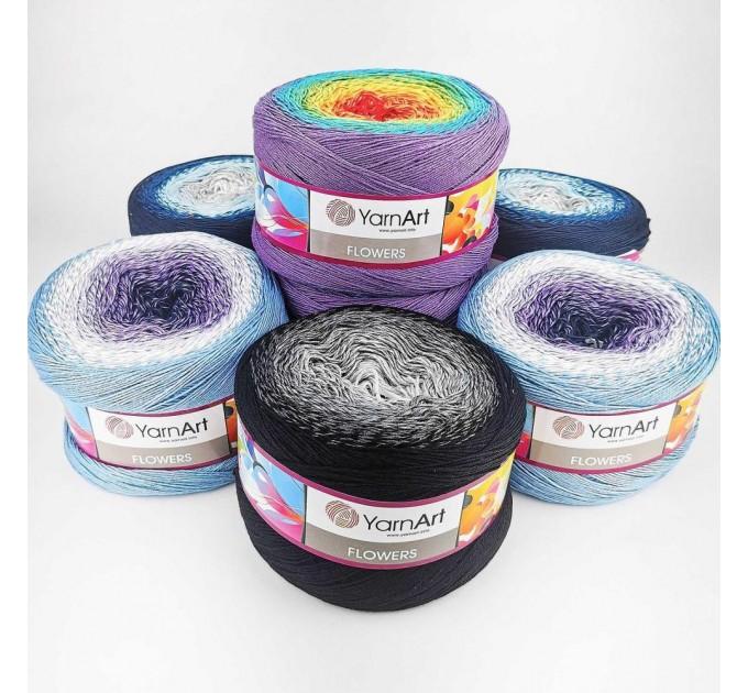 YARNART FLOWERS 250 grams-1000 meter Gradient Cotton Rainbow Knitting Yarn Crochet Cotton Granny Square Shawl Wraps Poncho Organic Soft Yarn  Yarn  13